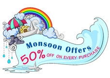 Happy Monsoon Sale Offer promotional and banner Stock Image