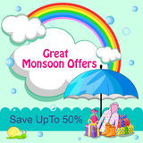 Happy Monsoon Sale Offer promotional  Royalty Free Stock Image