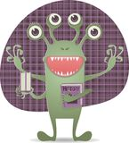 Happy monster with book Royalty Free Stock Photos