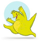 Happy monster  illustration. Happy monster jumping with hands up  illustration Stock Photo