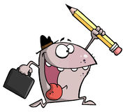 Happy Monster Runs with Briefcase and Pencil. Cartoon Happy Monster Runs with Briefcase and Pencil vector illustration