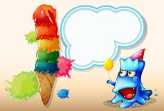 A happy monster watching the giant icecream Royalty Free Stock Photo