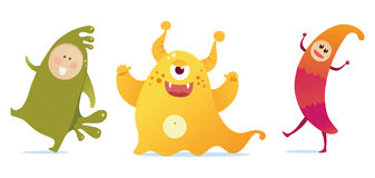 Happy monsters. Three happy and colorful monsters Royalty Free Stock Photo
