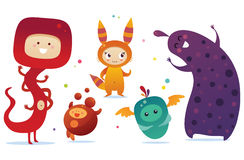 Happy monsters. Set of happy and cheerful monsters Royalty Free Stock Photos