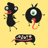 Happy monsters illustration. Set 12. Three black happy monsters on colored background Royalty Free Stock Images