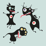 Happy monsters illustration. Set 13. Three black happy monsters on colored background Stock Images