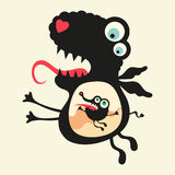 Happy monsters illustration. Set 20. Two black happy monsters on colored background stock illustration