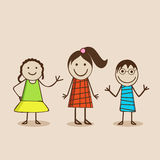 Happy mood in different characters. Royalty Free Stock Images