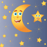 Happy moon with star Stock Image