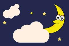 Happy Moon between star and cloud vector illustration Stock Image