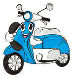 Happy moped call. Face of blue moped hold a headphone Stock Photography