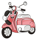 Happy moped call. Smiling face of pink moped hold a black headphone Stock Image