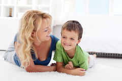 Happy morning - boy playing with mother Royalty Free Stock Photography