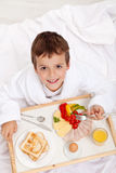 Happy morning - breakfast in bed Royalty Free Stock Photography