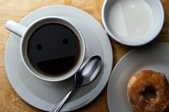 Happy Morning Coffee, Cream and donut royalty free stock images
