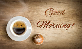 Happy morning coffee. Happy morning cup of coffee Royalty Free Stock Photography