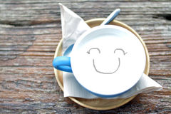 Happy in the morning. Drinking warm milk in the morning is the culmination of happiness Stock Image