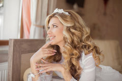 Happy Morning Portrait of beautiful smiling bride. Wedding hairs Stock Photo