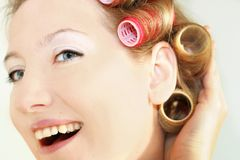 Happy morning woman. Blonde woman make morning coiffure Stock Photography