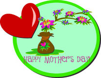Happy Mother's Day Flowers and Heart Royalty Free Stock Photography