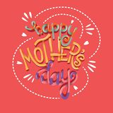 Happy Mother's Day, hand lettering typography modern poster design stock photo