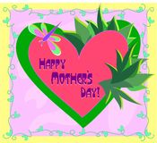 Happy Mother�s Day Heart with Plants Royalty Free Stock Photos