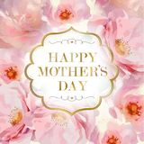 Happy Mother's Day postcard. Watercolor pink roses and gold vintage frame with gold letters. Floral background Stock Images