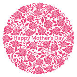 Happy Mother's Day. rose flowers in circle. Stock Photography