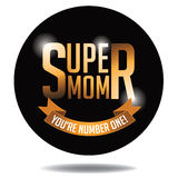 Happy Mother's Day super mom gold type icon. EPS 10 vector royalty free stock illustration Stock Image