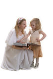 Happy mother. With little girl and big book Royalty Free Stock Images