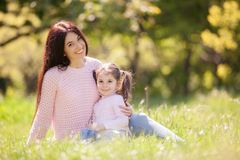 Free Happy Mother And Daughter In The Autumn Park. Beauty Nature Scene With Family Outdoor Lifestyle. Happy Family Resting Together On Stock Photography - 157002252