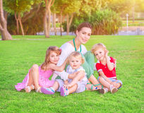 Happy mother with babies Stock Photography