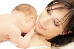 Happy mother with a baby Royalty Free Stock Images