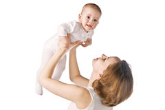 Happy mother with baby. On white background Stock Photos