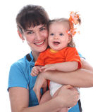 A happy mother and baby. A happy mother holds a baby on hands Stock Photography