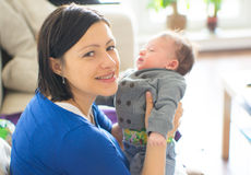 Happy mother and baby boy Stock Image