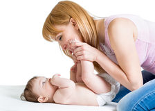 Happy mother with baby boy infant Stock Photo