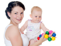 Happy mother with baby over white. The happy mother with baby over white Royalty Free Stock Photos