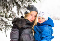 Happy mother and baby playing evergreen spruce in. Happy family enjoy snow and winter on holidays Stock Image