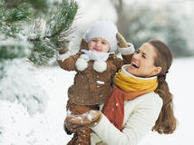 Happy mother and baby playing with snow on branch Royalty Free Stock Image