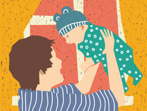 Happy mother and baby son. Mother and son. Color vector illustration. EPS8 Stock Image