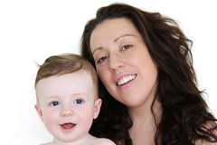 Happy mother and baby son smiling Stock Photography