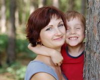 Happy mother and boy Stock Images