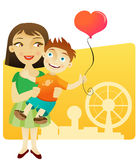 Happy mother with child. Cartoon illustration of happy mother carrying young boy with heart shaped balloon, ferris wheel in background Stock Photography