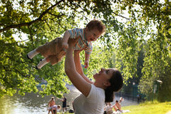 Happy mother and child Stock Photos