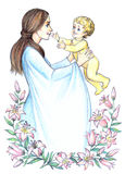 Happy mother with child among flowering lilies. Pencil frame royalty free illustration