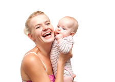 Happy mother and child isolated. Happy mother and child on white Royalty Free Stock Photo