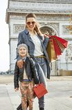 Happy mother and child near Arc de Triomphe in Paris, France Royalty Free Stock Images