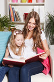 Happy mother and child reading a book Stock Photography