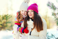 Happy mother and child together in winter. Day Royalty Free Stock Photos